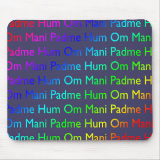 Rainbow Om Mani Padme Hum on Purple Mousepads