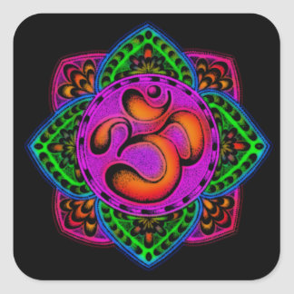 rainbow om mantra square stickers