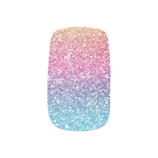 Rainbow Ombre Glam Glitter Minx Nail Art