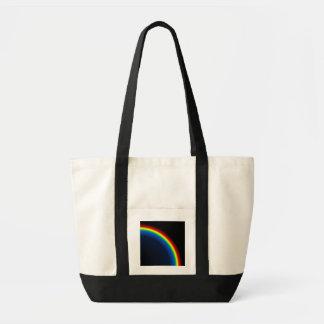 Rainbow on black impulse tote bag
