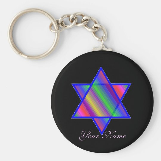 Rainbow on Black Merkaba Keychain