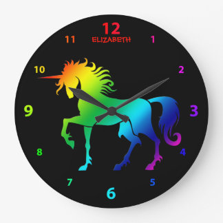 Rainbow On Black Named Unicorn Clock