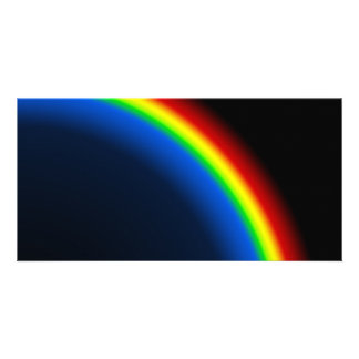 Rainbow on black picture card