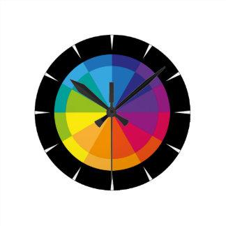 Rainbow on black round clock