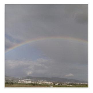 Rainbow on the hills acrylic print