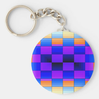 Rainbow Optical Illusion Spectrum Color Chessboard Keychain