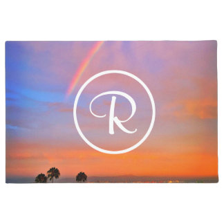 Rainbow orange blue sunrise photo custom monogram doormat