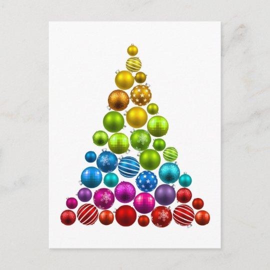 Rainbow Ornament Christmas Tree Holiday Postcard