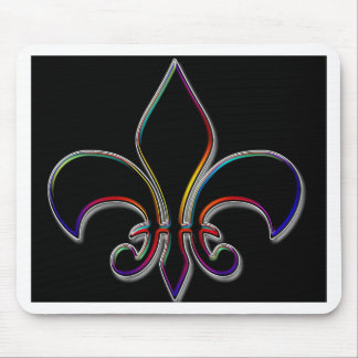 Rainbow Outlined Black Fleur de Lis Mouse Mat
