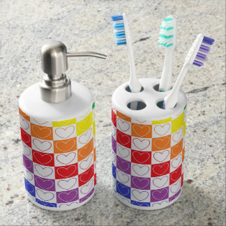 Rainbow Outlined Hearts and Squares Soap Dispenser And Toothbrush Holder