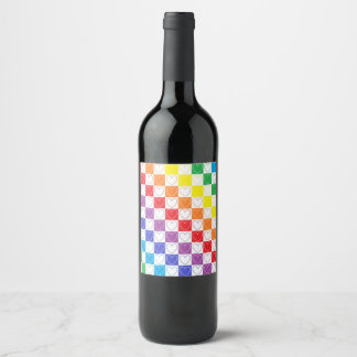 Rainbow Outlined Hearts and Squares Wine Label