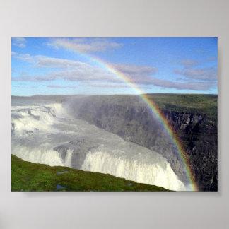 Rainbow over Gullfoss waterfall Iceland Print