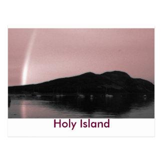 Rainbow over Holy Island Post Cards
