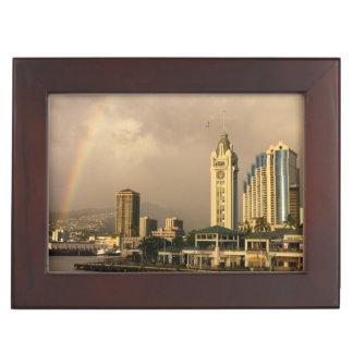 Rainbow over Honolulu, Hawaii, USA 2 Keepsake Box