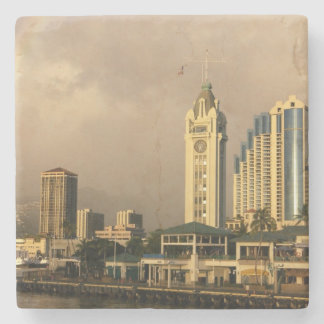 Rainbow over Honolulu, Hawaii, USA 2 Stone Coaster