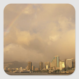Rainbow over Honolulu, Hawaii, USA 3 Square Sticker
