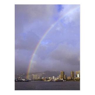 Rainbow over Honolulu Hawaii USA Postcard