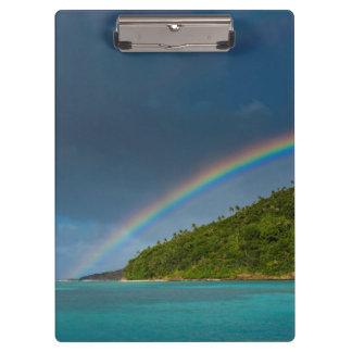 Rainbow over island, American Samoa Clipboard