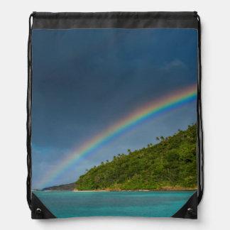 Rainbow over island, American Samoa Drawstring Bag