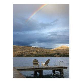 Rainbow over lake and dock postcards