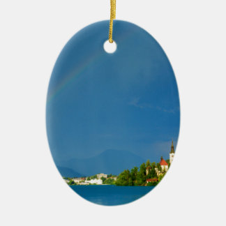 Rainbow over Lake Bled Ceramic Oval Decoration