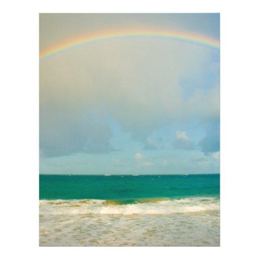 Rainbow over ocean flyer design