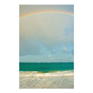 Rainbow over ocean stationery
