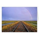 Rainbow over railroad tracks near Fairfield Greeting Card