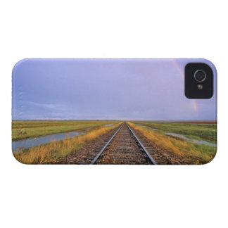 Rainbow over railroad tracks near Fairfield iPhone 4 Case-Mate Cases