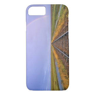Rainbow over railroad tracks near Fairfield iPhone 7 Case