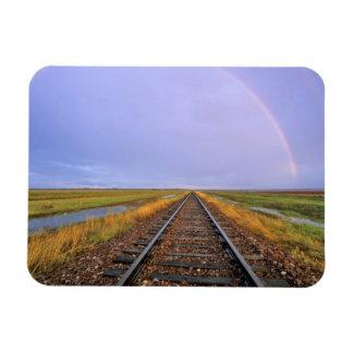 Rainbow over railroad tracks near Fairfield Magnet