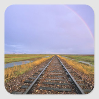 Rainbow over railroad tracks near Fairfield Square Sticker