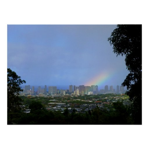 Rainbow over Waikiki Poster