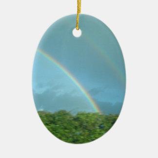 Rainbow over Warwickshire Ceramic Oval Decoration
