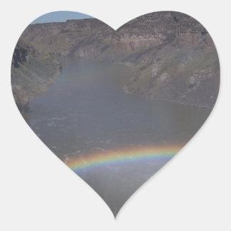 Rainbow Over Water Heart Sticker