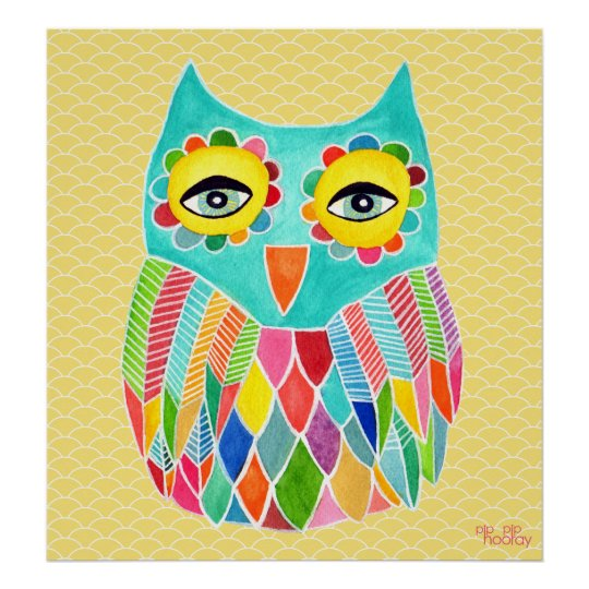 Rainbow Owl Art Girls Room Poster