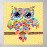 Rainbow Owl Wall Art Girls Room Poster