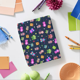 Rainbow owls hearts stars iPad cover