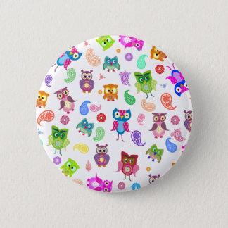 Rainbow owls - light 6 cm round badge