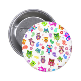 Rainbow owls - light 6 cm round badge