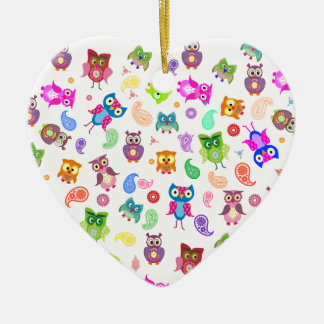 Rainbow owls - light ceramic heart decoration