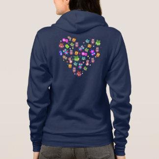 Rainbow owls love heart hoodie
