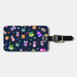 Rainbow owls luggage tag