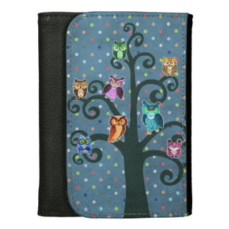Rainbow owls tree pattern wallet
