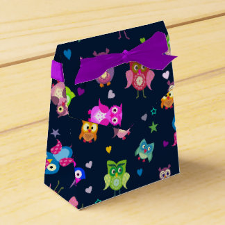 Rainbow Owls  watercolor Favour Box