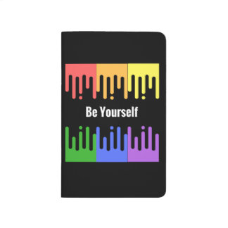"Rainbow paint ""Be yourself"" Lined journal"