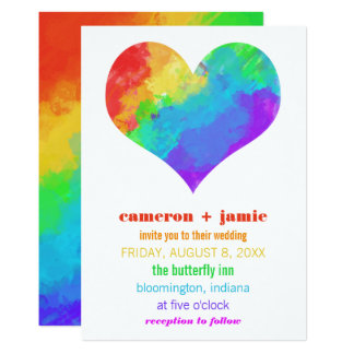 Rainbow Paint Heart Gay Lesbian Wedding Card