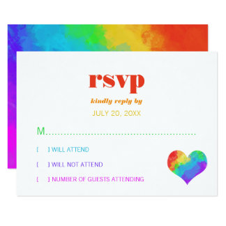 Rainbow Paint Heart Gay Lesbian Wedding RSVP 9 Cm X 13 Cm Invitation Card