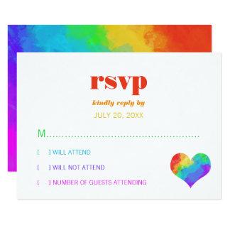 Rainbow Paint Heart Gay Lesbian Wedding RSVP Card