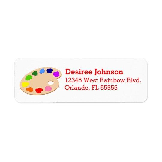 Rainbow Paint Palette Art Address Labels